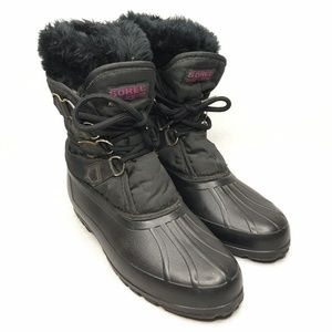 Sorel Duck Boots Faux Fur Lined Lace Up Winter